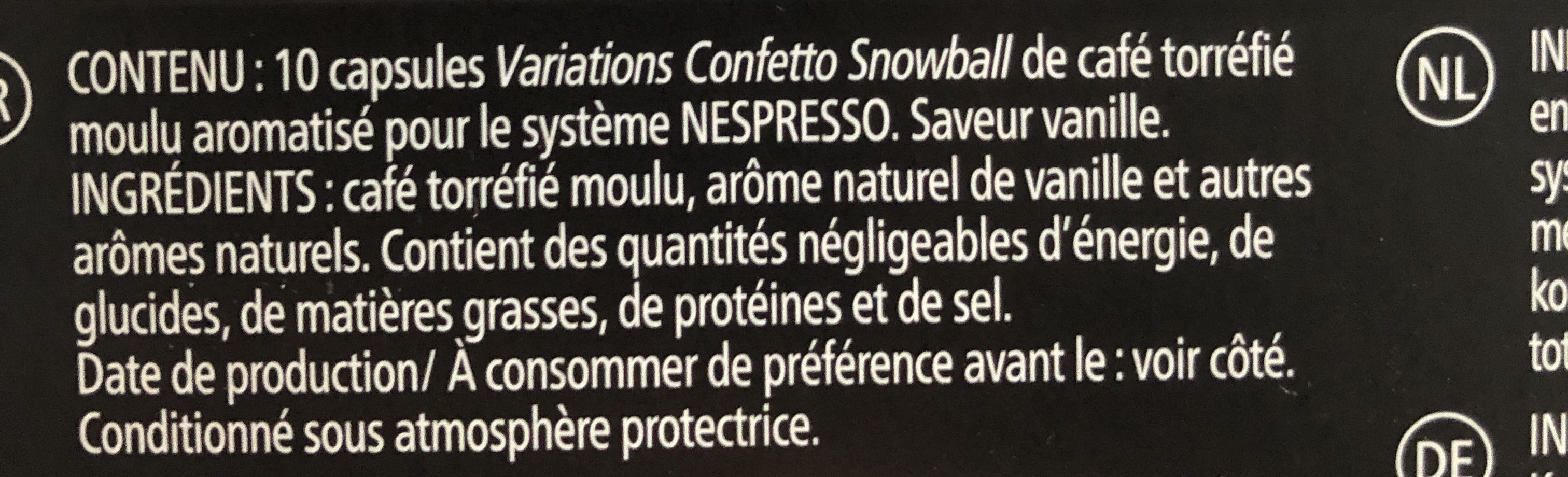 Variations Confetto Snowball - Limited Edition - Ingrédients