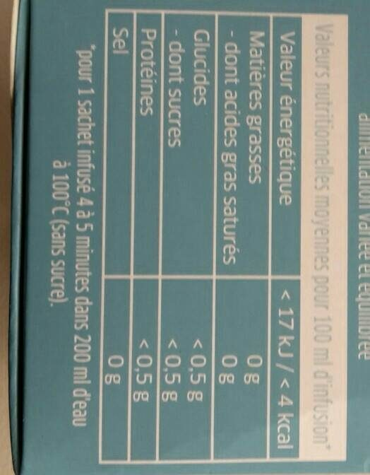 Dosette Rosabaya - Nutrition facts - fr