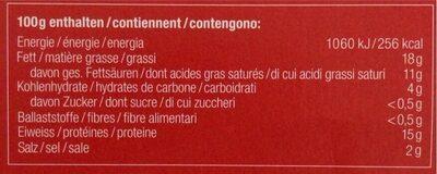 Appenzeller fondue - Valori nutrizionali - fr