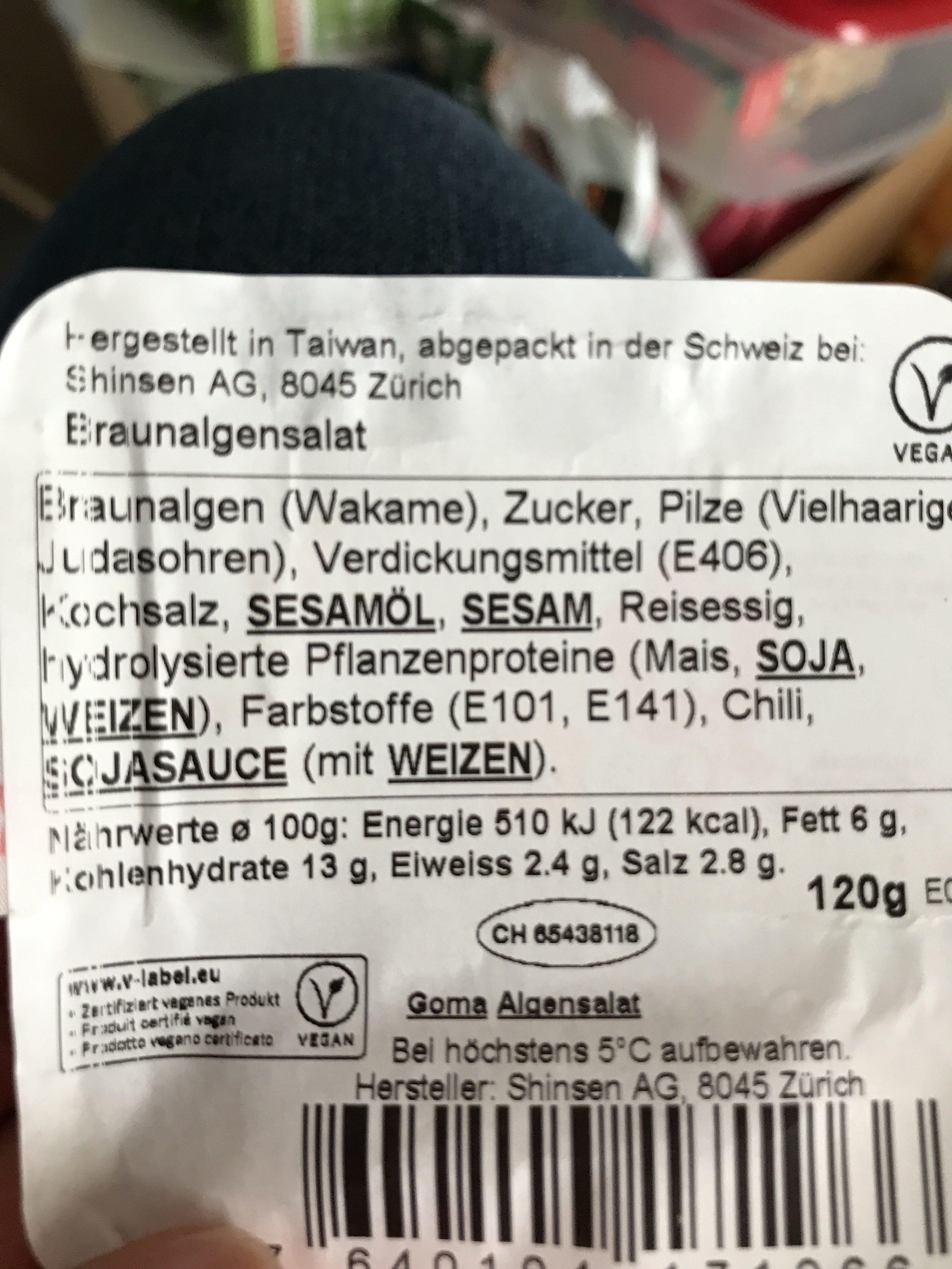 Goma Algensalat - Ingredients