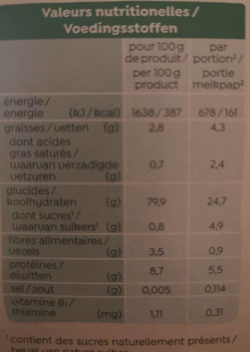 3 céréales BIO - Nutrition facts - fr
