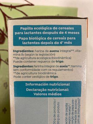 Papilla de copos de avena - Ingredients - es