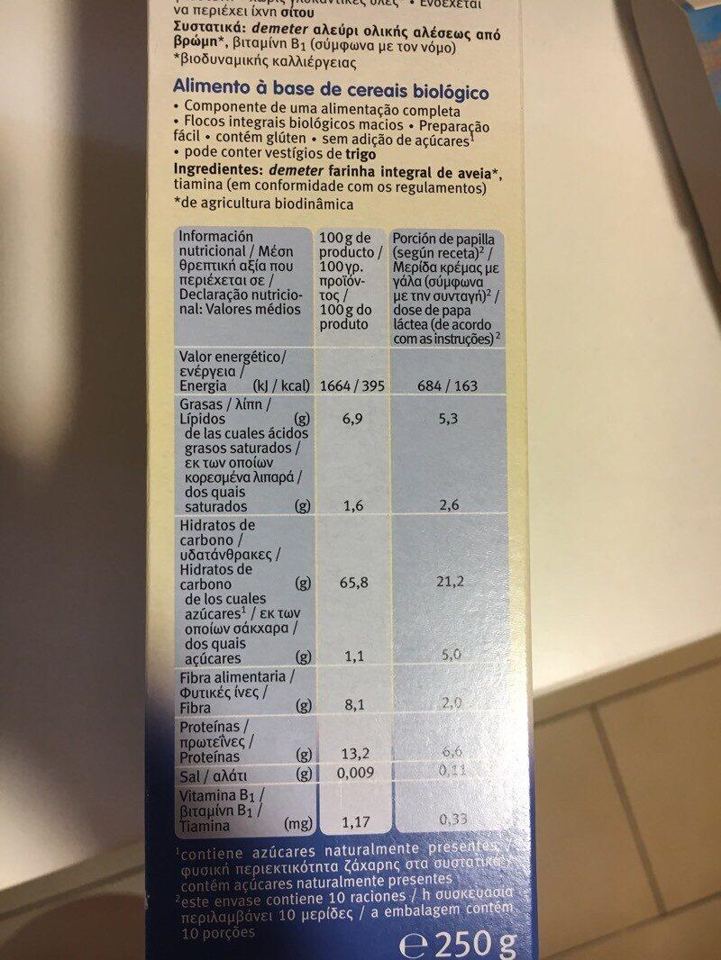 Papilla de copos de avena - Nutrition facts - es
