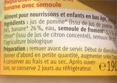 Banane avec semoule - Valori nutrizionali - fr
