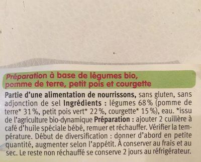 Petit Pot PDT Petits Pois Courgettes - Ingrédients