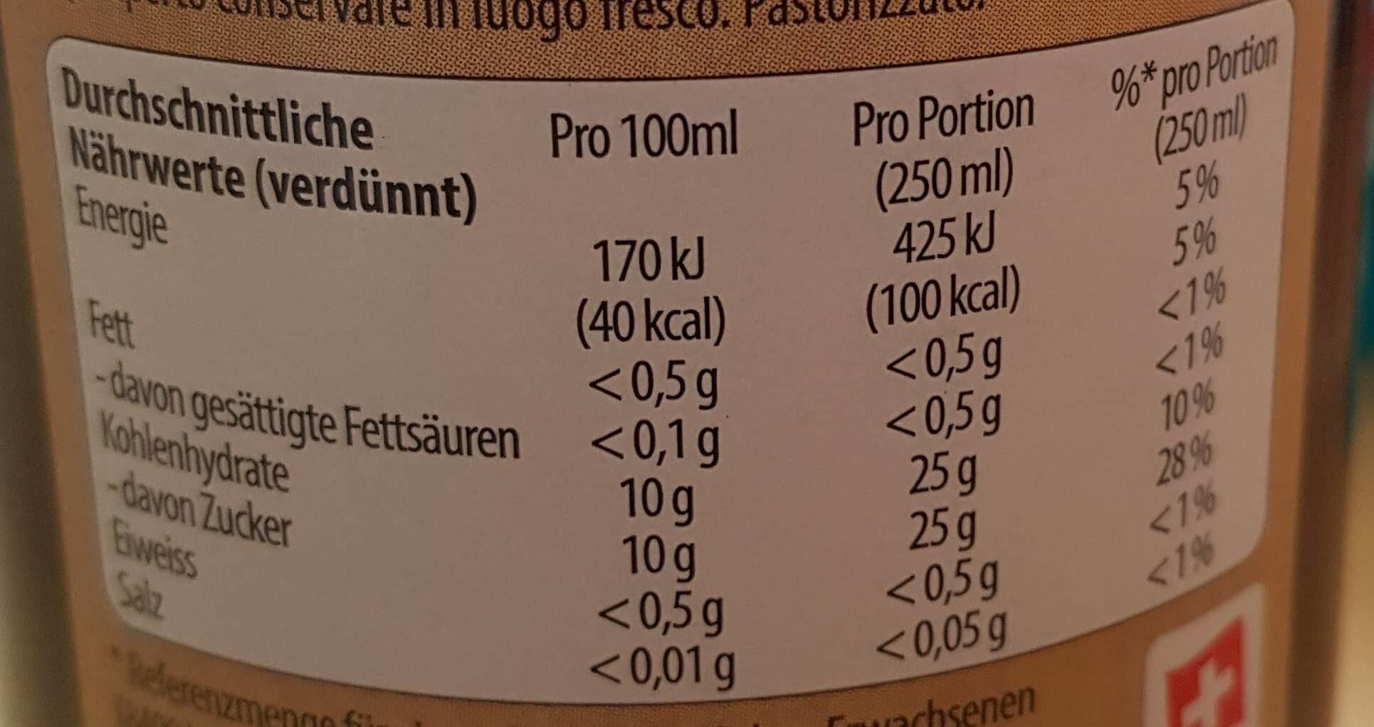 Sirop de cerises - Valori nutrizionali - fr