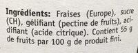 Confiture Miger fraise - Ingredients
