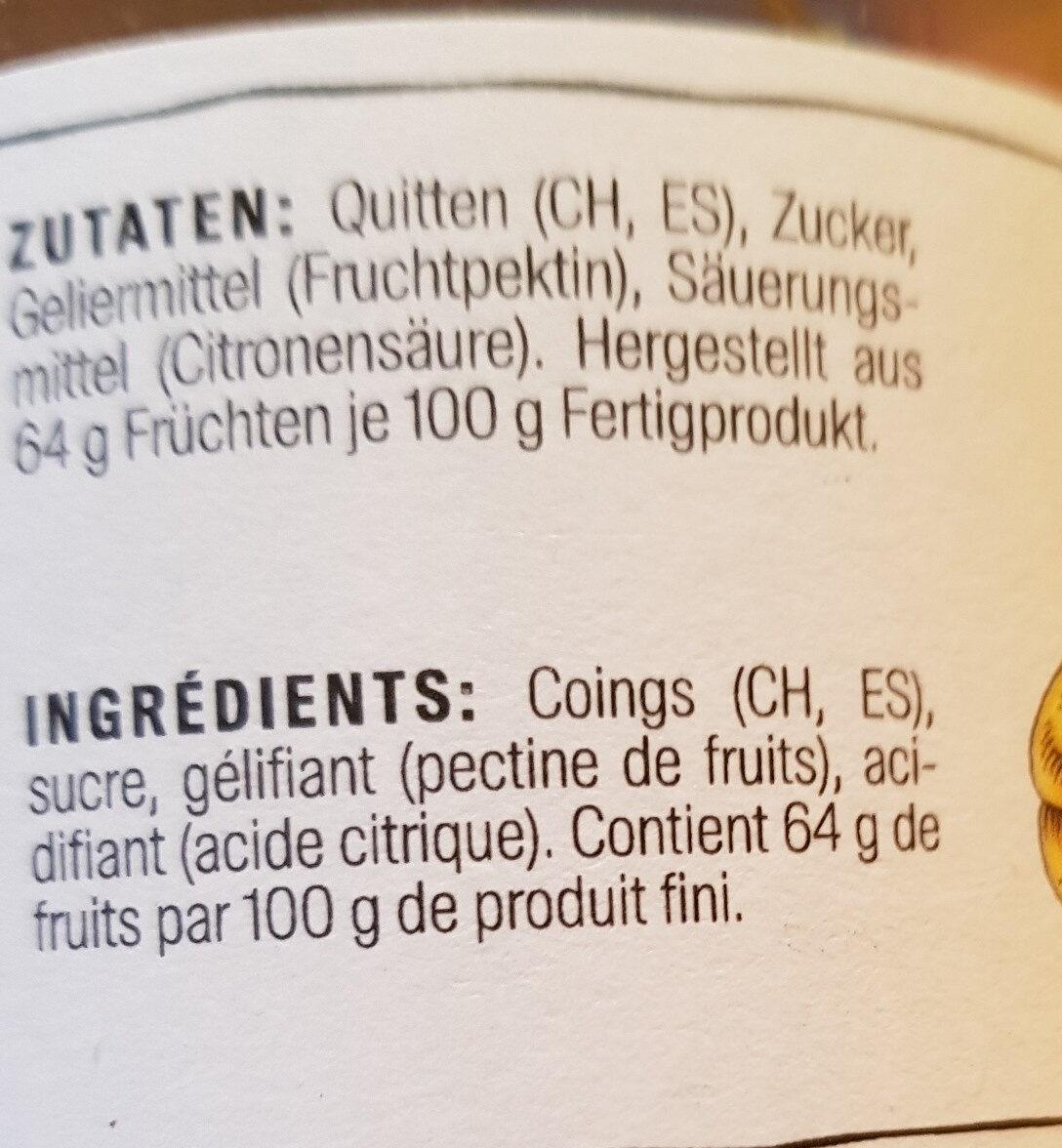 Konfitüre Gelée, Quitten - Nutrition facts