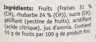 Fraises-Rhubarbe - Ingrédients