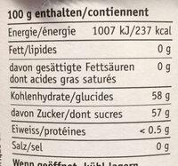 Fraises-Rhubarbe - Informations nutritionnelles