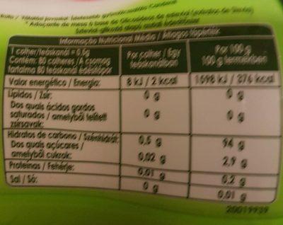 Edulcorante a base de stevia - Información nutricional - fr