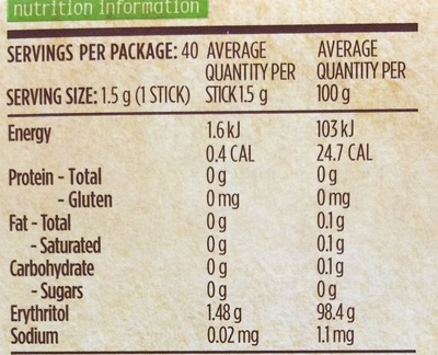 100% natural sweetener with stevia - Nutrition facts