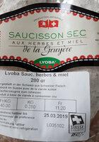 Saucisson sec aux herbes et miel - Product - fr