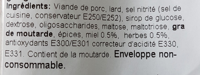 Saucisson sec aux herbes et miel - Ingredients - fr