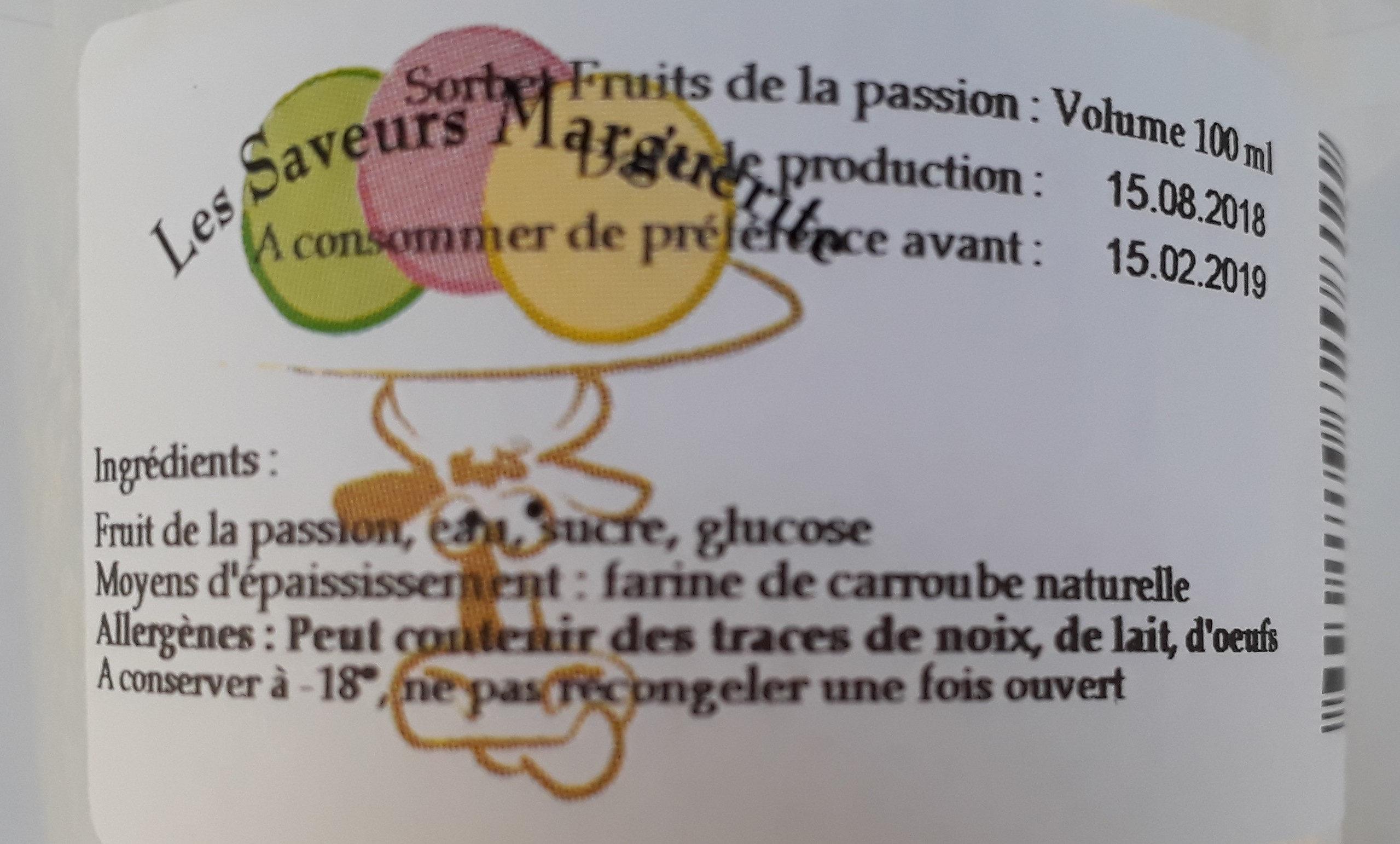 Sorbet - Ingrédients