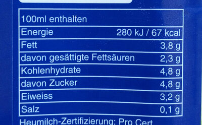 Heumilch, Frische Vollmilch - Ingredienti - de