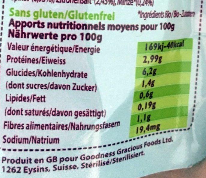 Purée d'Épinards et de Patates Douces Biologiques au Poulet avec Jus de Menthe et de Citron - Nutrition facts - fr