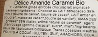 Amande BIO chocolat au lait - Ingrédients