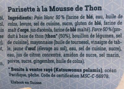 Parisette fourrée à la mousse de thon - Ingredients