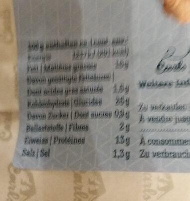 Parisette fourrée à la mousse de thon - Nutrition facts