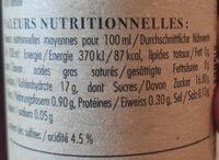 Vinaigre n°023 Pulpeux de framboises - Informations nutritionnelles - fr