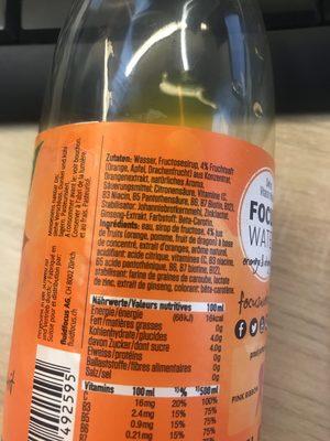 Focuswater Orange & Dragonfruit - Ingrédients - fr