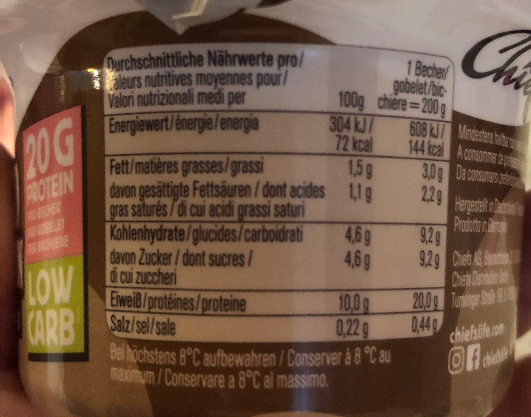 Protein Pudding Choco Mountain - Informations nutritionnelles - fr