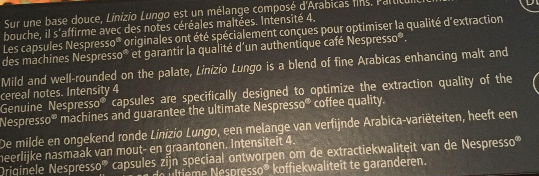 Linizio lungo - Ingrédients - fr
