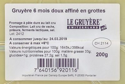 Le Gruyère - Ingredients - fr