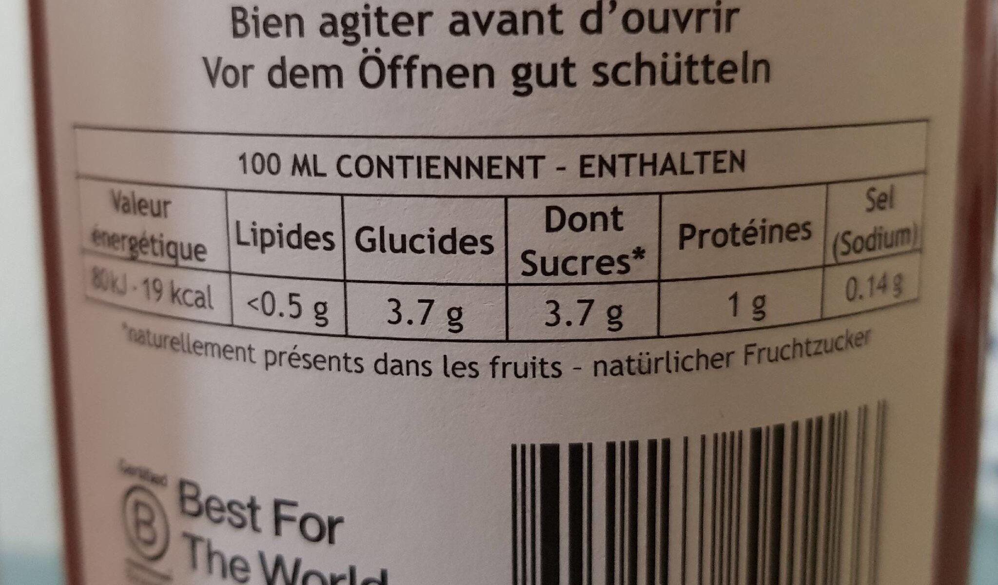 Jus de tomates - Nutrition facts - fr