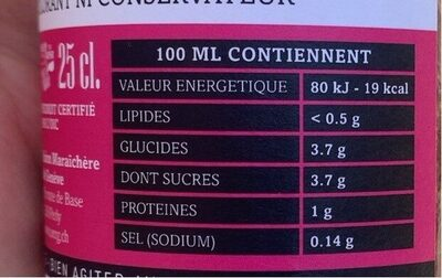 Pur jus de tomates 100% Genevois - Nutrition facts - fr