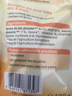 Mini Biscotte BB Miel 100G - Ingredientes