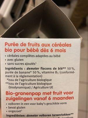 Puree De Fruits Banane Et Semoule Des 6 Mois - Ingrédients