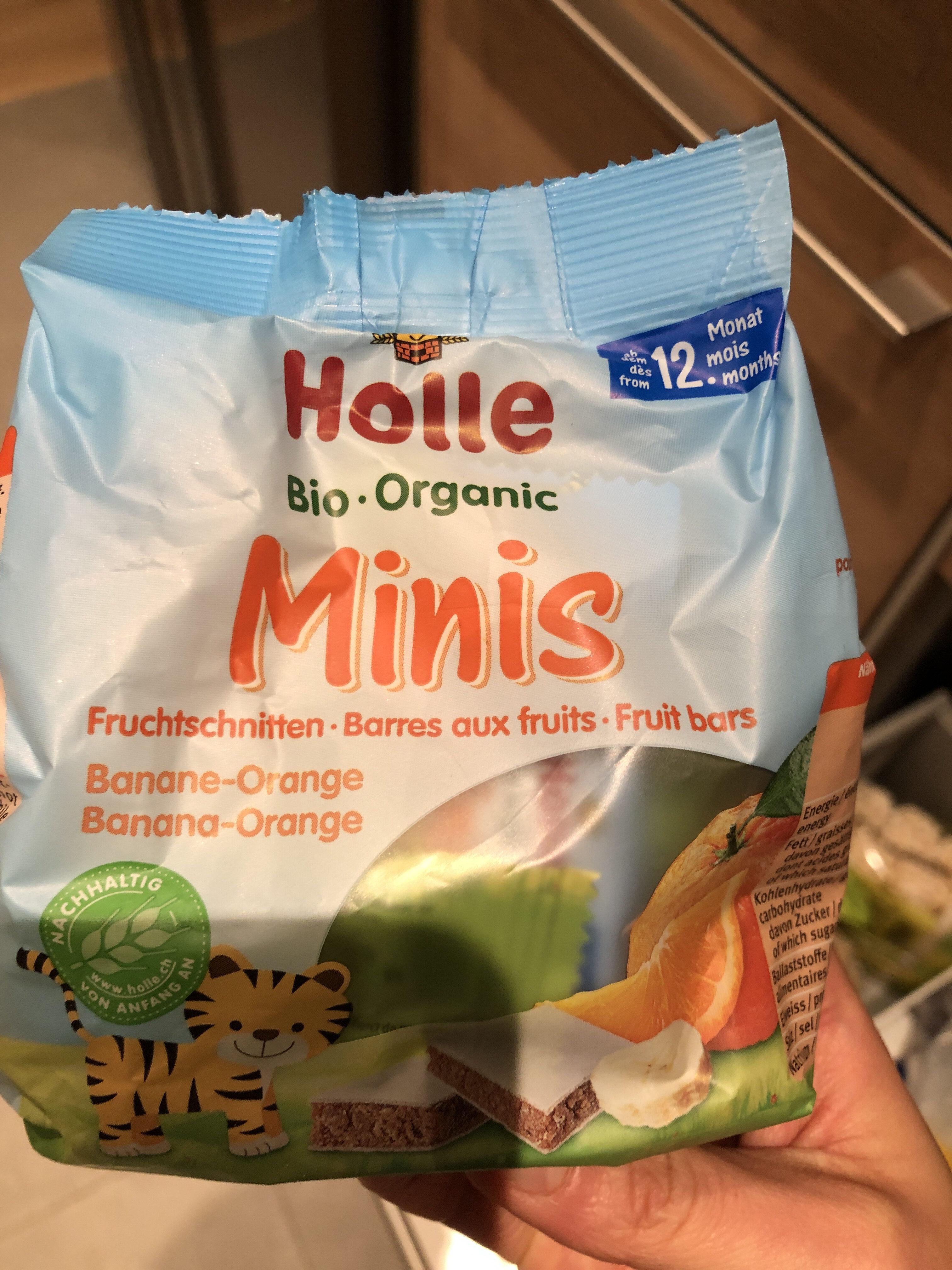 Holle Minis Fruchtschnitten Banane Orange, 8X 12,5 GR Packung - Product