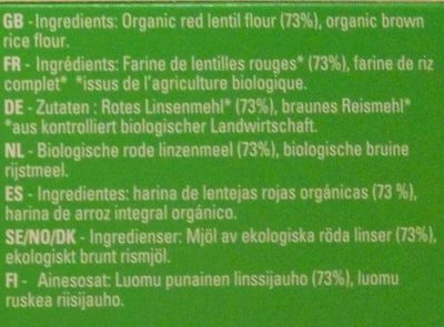 Organic Red Lentil Spaghetti - Ingredients