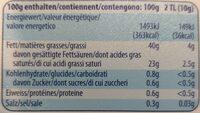 Beurre demi-gras - Nutrition facts