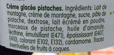 Ruci - Crème glacée pistaches & cardamome - Ingredients
