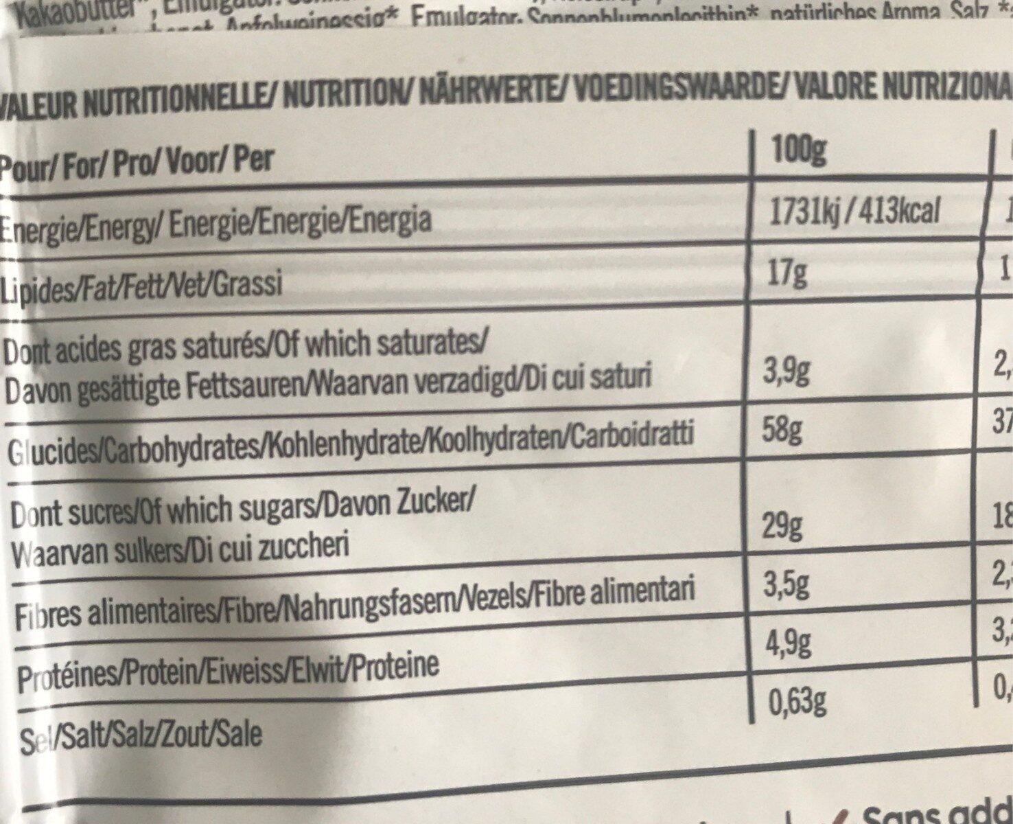 Cookie aux pepites de chocolat - Informations nutritionnelles - fr