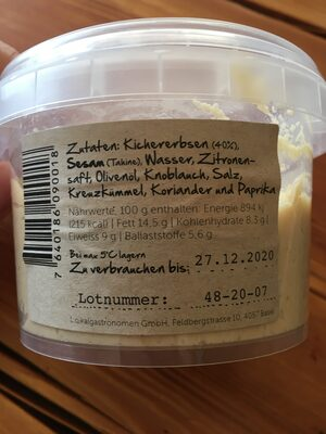 Jonny's handgemachter Hummus - Nutrition facts