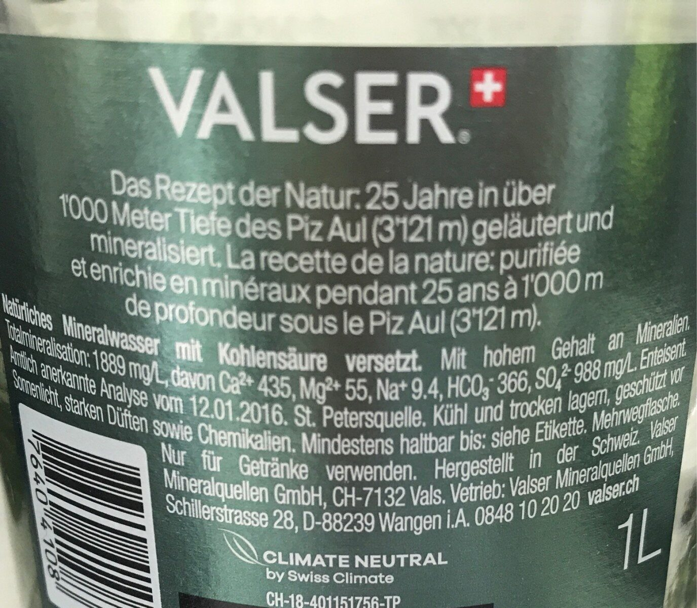 Valser Classic - Ingredients - de