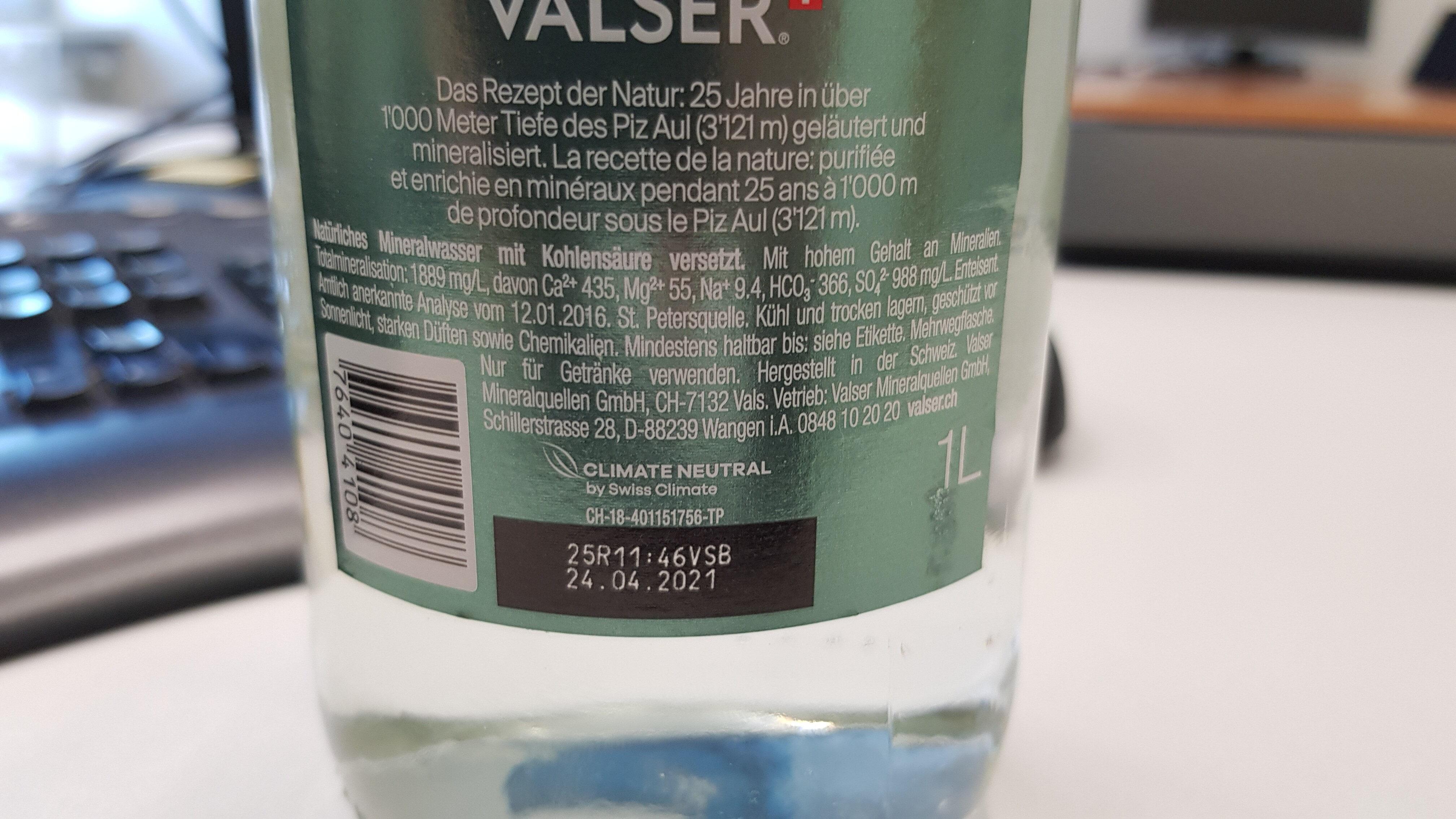 Valser Classic - Informations nutritionnelles - de