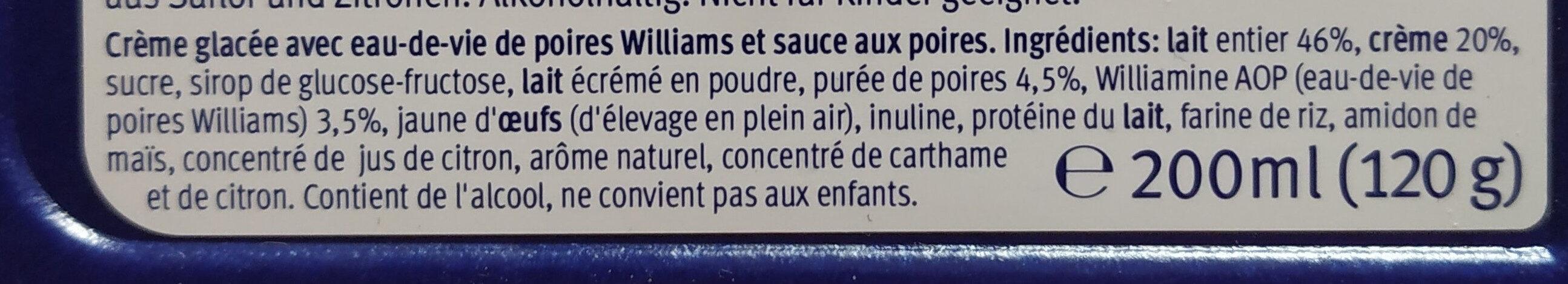 Poire Williamine crème glacée - Інгредієнти - fr