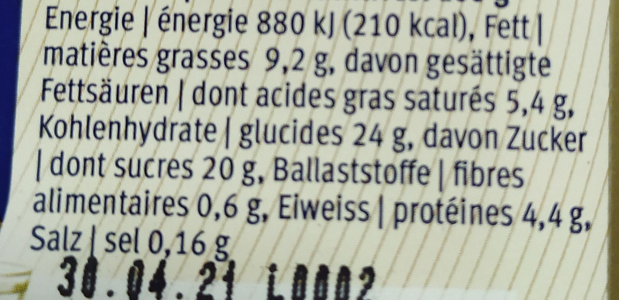 Poire Williamine crème glacée - Харчова цінність - fr