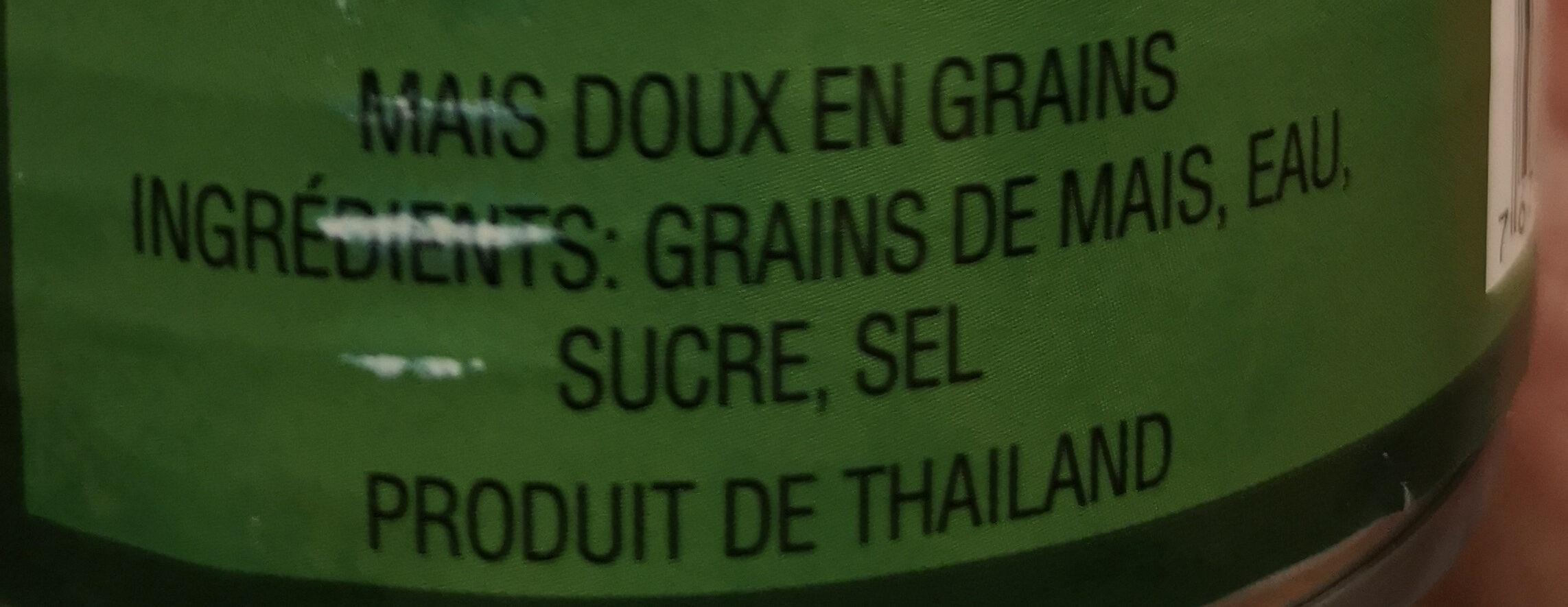 mais doux en grains - Ingrédients