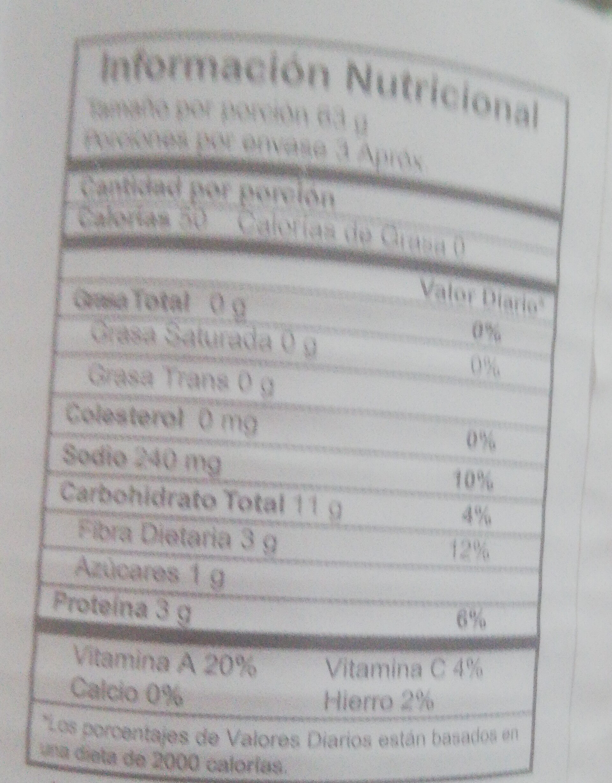 ensalada de vegetales - Informations nutritionnelles - es