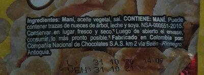 Mani con sal - Ingredients - es