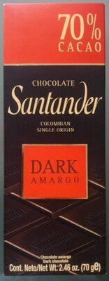 Chocolates Santander Amargo 70% Cacao 70 gr - Product