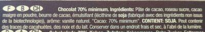 Chocolates Santander Amargo 70% Cacao 70 gr - Ingredients