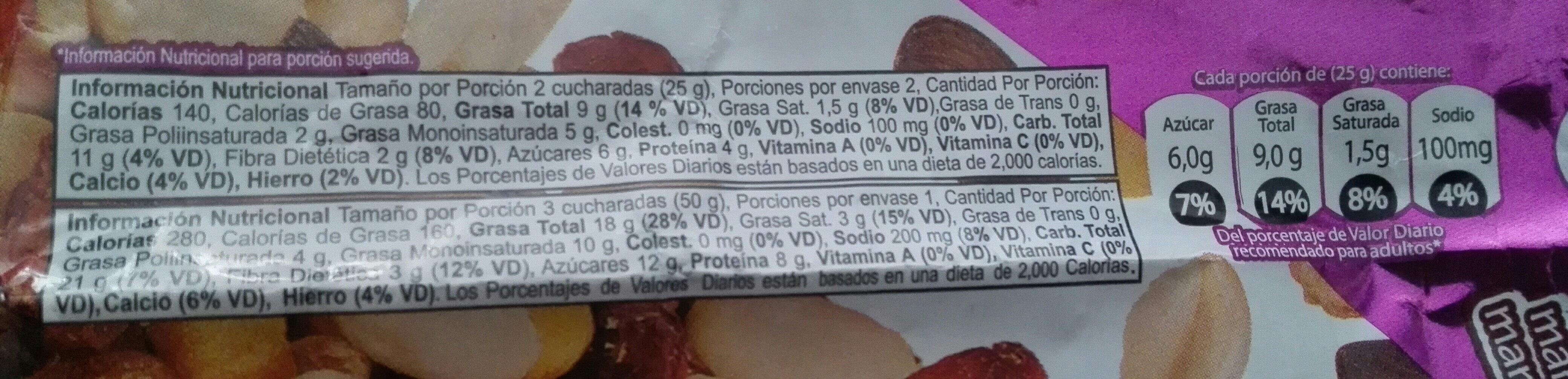 Mezcla de maní con sal, maíz tostado, maní confitado, almendras y arándanos - Nutrition facts - es