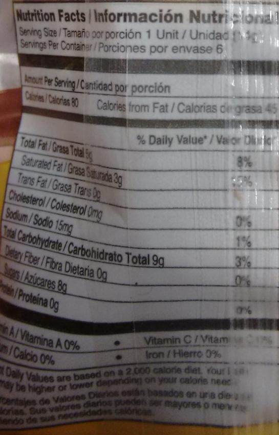 Nucita - Informations nutritionnelles - es